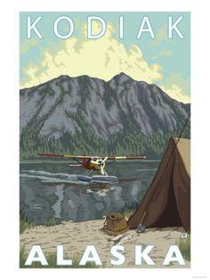 Denali National Park, Alaska - Bush Plane & Fishing - Lantern Press Artwork (Art Print Available) Ketchikan Alaska, Seward Alaska, Travel Ads, Travel And Tourism, Travel Photos, Travel Images, Travel Guide, Retro Poster, Vintage Travel Posters