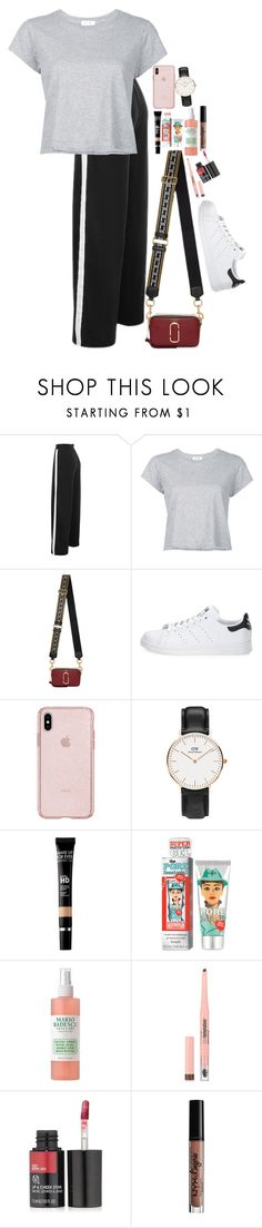 """Untitled #5178"" by veronicaptr ❤ liked on Polyvore featuring RE/DONE, Marc Jacobs, adidas, Daniel Wellington, MAKE UP FOR EVER, Benefit, Mario Badescu Skin Care, Maybelline, The Body Shop and Charlotte Russe"
