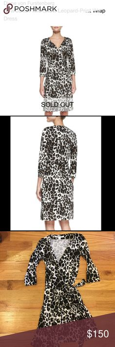 DVF wrap silk snow leopard dress size 4 Diane von Furstenberg New Julian Two Snow Leopard-Print Wrap Dress. DVF wrap silk snow leopard dress size 4. Bergdorf Goodman (subset of Neiman Marcus) is sold out. Diane von Furstenberg Dresses