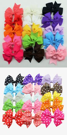 15pcs/set grosgrain hair ribbon bow baby hairbow girl boutique bow with clips barrette children hair accessories $3.98
