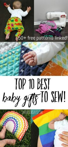 Top 10 best baby gifts to sew! There are 50 links to free baby sewing patterns and tutorials for the best handmade baby gifts. Pair one with something practical that you loved as a parent for the best baby shower gift idea ever! Baby Sewing Tutorials, Sewing Projects For Kids, Sewing For Kids, Sewing Patterns Free, Free Pattern, Sewing Ideas, Baby Patterns, Skirt Patterns, Dress Tutorials