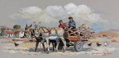 johnnie de kock 3 Donkeys, Oil Paintings, Poppy, Art Ideas, Watercolor, Heart, Animals, Wheelbarrow, Country