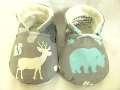 Deer and Bear Baby Boy Shoes, Grey and Turquoise, Forest Animals baby, baby shoes, hunting shoes