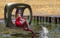 Woman with Dolphin -  - Diese  Collage wurde erstellt von Gerd Schremer