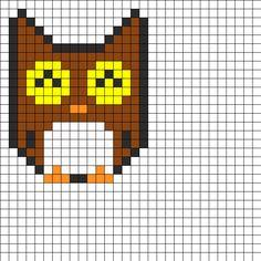 Owly Perler Bead Pattern | Bead Sprites | Animals Fuse Bead Patterns