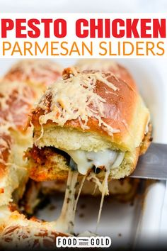 Whether you're tailgating, hosting a party, or just looking for a tasty sandwich, these Pesto Chicken Parmesan Sliders are drool-worthy and perfectly cheesy! These Pesto Chicken Parmesan Sliders can be made extra fancy by brushing up on these cooking techniques and making everything from scratch. | @foodabovegold #chickensliders #chickenparmesanslider #bestsliderrecipe #easycomfortfood Chicken Parmesan Sliders Recipe, Pesto Chicken, Chicken Recipes, Lunch Recipes, Appetizer Recipes, Dinner Recipes, Dinner Ideas, Sandwich Recipes, Slider Recipes