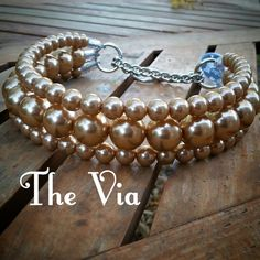 The Via in Gold Pearl Dog CollarCat collar Buckle by BeadieBabiez