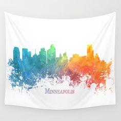 Skyline+Minneapolis+colored+Wall+Tapestry+by+Jbjart+-+$39.00