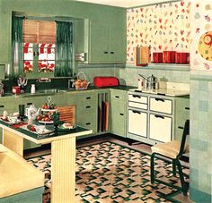 The peak of kitchen taste in the 1930s was a range that looked like a sideboard, dresser, or cabinet—anything but an appliance. Short legs and burner covers helped complete the conceit. (Illustration: National Archives Associates) http://www.oldhouseonline.com/history-of-the-kitchen-stove/#