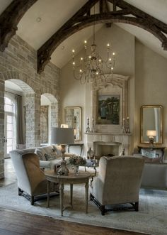 Beautiful Living Room     (Designer: Kara Childress Architectural Consultant: Sara West)