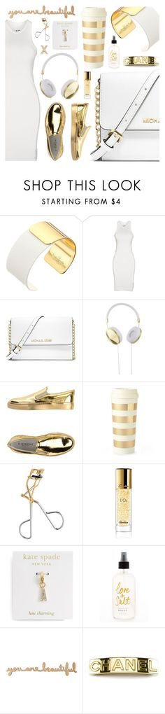 """""""Gold details"""" by pastelneon ❤ liked on Polyvore featuring Kate Spade, DRKSHDW, MICHAEL Michael Kors, Frends, GIENCHI, H&M, Guerlain, Chanel, BCBGeneration and casual"""