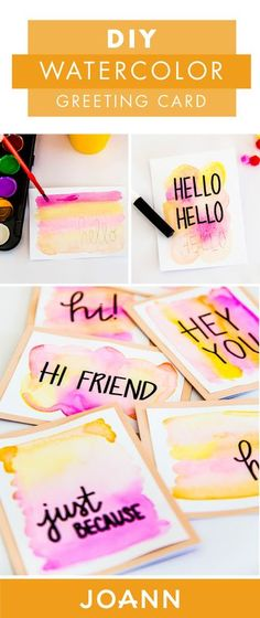 Birthday cards, thank you notes, you name it, these DIY Watercolor Greeting Cards are great for any occasion. Plus, when you incorporate some calligraphy, these notes from JOANN get even more adorable. Diy Cards Thank You, Diy Name Cards, Cards Diy, Cute Cards, Diy Cards For Birthday, Greeting Cards Birthday, Creative Birthday Cards, Christmas Greeting Cards, Handlettering