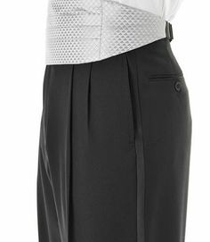 Black Pleated Front Tuxedo Trousers