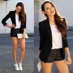 Garbo Heels, White Top, White Clutch, Bcbg Black Blazer, Faux Leather Shorts, Red Lipstick