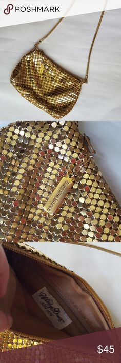 """Vintage gold mesh bag by Whiting & Davis Empecable gold mesh bag from the 1970's. Great way to instantly dress up an outfit and would look great on display when not in use! Bag has single zipper with zipper pocket on the inside. Measures 8""""wide by 6""""high with a 46"""" (23"""" from shoulder) gold leather strap to wear as a shoulder or crossbody. Whiting & Davis Bags Mini Bags"""