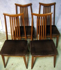 Vintage Set 6 Danish Mid Century Modern Teak Highback Dining Room Beauteous Mid Century Dining Room Chairs Inspiration Design