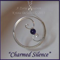 "Piece # 167 ""Charmed Silence"" A Zoria's Creation. Krista DeSelms ©2011 Amethyst wrapped in Argentium Sterling Silver. $74.00 A unique Zoria's design by Krista DeSelms. - Wire Wrapped Pendant – FOR SALE – www.Zorias.com #Wire #Wrapping"