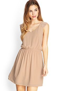 Embroidered Fit & Flare Dress | FOREVER21 - 2000087159 Blush dress!