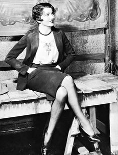 Claudette Colbert, 1927 vintage found photo movie star late 20s to early 30s vintage fashion style suit jacket skirt shoes blouse shirt bobbed hair model