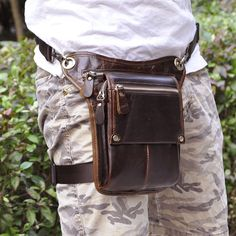 Men Oil Wax Genuine Leather First Layer Cowhide Vintage Waist Leg Bag Fanny Pack Travel Leisure Crossbody Messenger Pouch Riding Comfortable Feel Fine Jewelry