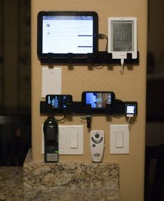 I made a wall mounted Device Charging Station out of some 99 cent Ikea towel racks.  [pics]