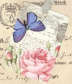 Butterfly -  Rose  - French Style - Gift Tags  - by Bluebird Lane