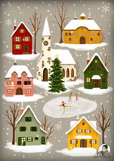Cozy little winter town, snowflakes falling, children ice-skating - in love with. - Cozy little winter town, snowflakes falling, children ice-skating – in love with painting Christm - Christmas Town, Christmas Art, Winter Christmas, Vintage Christmas, Christmas Decorations, Illustration Noel, Winter Illustration, Christmas Illustration Design, Christmas Drawing