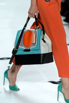 Love the Bag and teal shoes...A Knockout Bag at @Diane von Furstenberg #MBFW #Colorblocking
