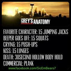 #workout Grey's Anatomy @moxiethrift on etsy Price