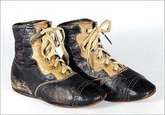 Victorian Black & Tan Child's Shoes or Boots - Children's - Dolls - C… Victorian Children's Clothing, Victorian Shoes, Antique Clothing, Victorian Era, Childrens Dolls, Childrens Shoes, Vintage Shoes, Vintage Accessories, Vintage Black