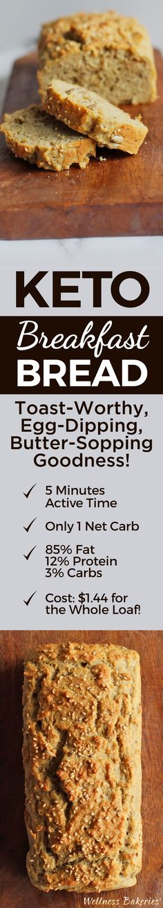 Gone keto, miss bread? Our hearty, golden Keto Breakfast Bread is perfect for toasting and slathering with butter or as an accompaniment to your eggs and bacon.