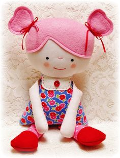 Soft Rag Doll Pattern, Plush Doll Pattern, Softie Pattern, Boy and Girl Doll Pattern, Cloth Doll Pattern, Soft Toy Pattern, PDF. $10.00, via Etsy.