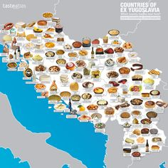 This food map shows each ex-Yugoslavian country's favorite dish Food From Different Countries, Food Map, Restaurant Concept, Beautiful Sunrise, Filming Locations, Montenegro, Map Art, Wine Recipes, Country