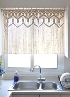 A dreamy macrame curtain is a pleasant addition to washing the dishes kitchen decor wall hangings Macrame kitchen curtain custom short macrame wall hanging Hollywood regency Curtains rustic valance Bohemian boho chic eclectic decor Rustic Valances, Rustic Curtains, Kitchen Curtains, Bohemian Curtains, Eclectic Curtains, Decorative Curtains, Macrame Art, Macrame Projects, Macrame Knots