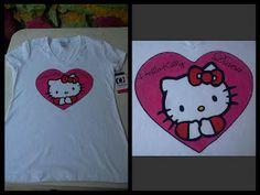 camiseta pintada a mano hello kitty