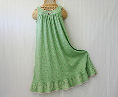 Child Sizes 6 8 10 Cotton Knit Nightgown BACK to by EyeletLady, $38.00