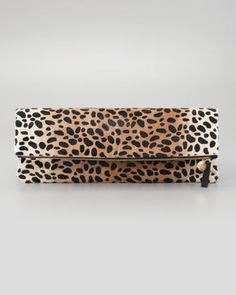 Clare Vivier Leopard Print Oversize Clutch