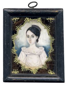 """""""Abraham Parsell (1791-1856), attributed, Miniature Portrait of an Unknown Young Woman, ca 1825."""""""