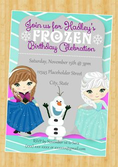 Frozen Invite, Frozen Birthday Invitation - Elsa and Ana Invitation - DIY Printable File by CreativeKittle on Etsy https://www.etsy.com/listing/199788491/frozen-invite-frozen-birthday-invitation