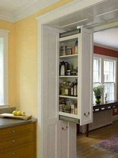 Pocket Door Storage.  would be great for kitchen doorway, with the bar starting directly across from it