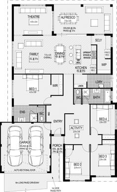 The Procida floorplan - move theatre to garage area and garage to theatre area. New House Plans, Dream House Plans, House Floor Plans, My Dream Home, Home Building Design, Home Design Plans, Building A House, House Design, House Blueprints