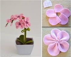 Rainbow's Crafts and Creations: How to Make Simple Felt Flowers Fake Flowers, Diy Flowers, Fabric Flowers, Flower Pot Crafts, Flower Pots, Felt Crafts, Diy And Crafts, Felt Doll Patterns, Felt Flower Tutorial