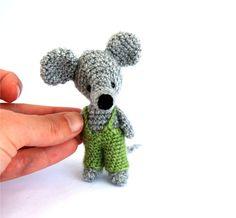 tiny rat, crochet rat, amigurumi rat mouse, miniature rat, tiny #lovely rat #funnygift idea stuffed little rat in green pants #creepy cute rat
