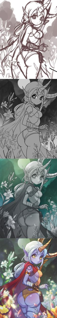 The progression is beautiful Digital Painting Tutorials, Digital Art Tutorial, Art Tutorials, Super Anime, Lol League Of Legends, Painting Process, Game Art, Amazing Art, Art Reference
