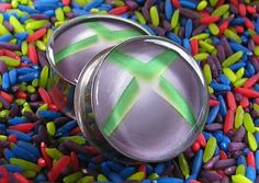 Xbox resin plugs for gauged ears. handmade from double flare 316L surgical stainless steel tunnels. 00g, 7/16, 1/2, 9/16, 5/8, 3/4, 7/8, or 1 inch. $19.95 #jewelry #xbox