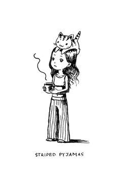 "Saatchi Art Artist: Indrė Bankauskaitė; Pen and Ink Drawing ""Striped Pyjamas"""