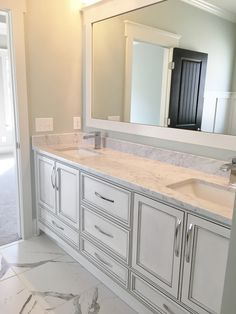Custom Cabinet White With Pewter Glaze Carrara Marble Framed Mirror