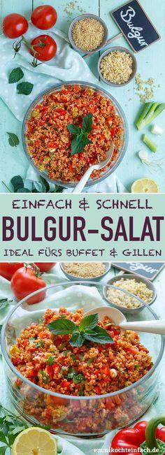 Fast and easy bulgur salad - Emmicochrom - Salads - . - Fast and easy bulgur salad – Emmicochrom – Salads – salad - Summer Salad Recipes, Summer Salads, Easy Salads, Easy Meals, Healthy Salads, Breakfast Party, Feta, Bulgur Salad, Couscous Salat