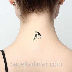 Küçük Dövme Modelleri Tattoo Kuş Figürlü Ense Dövmeleri
