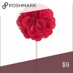 "Cherry Red Satin Flower Lapel Pin for Men's Suits New Men's Cherry Red Satin Flower Lapel Pin. Length: 3"" ; Diameter: 1.75"" The Modern Gallant Accessories"